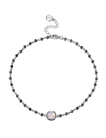 Fashion Silver Color+white Round Shape Gemstone Decorated Necklace