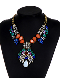 Elegant Multi-color Waterdrop Shape Decorated Necklace