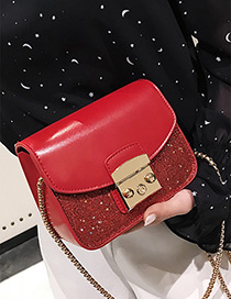 Fashion Red Belt Buckle Decorated Bag