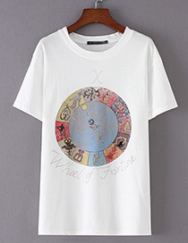 Fashion White Round Pattern Decorated T-shirt