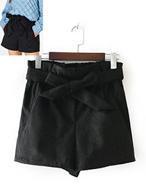 Fashion Black Bowknot Shape Decorated Shorts