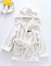 Lovely White Pure Color Decorated Bathrobe