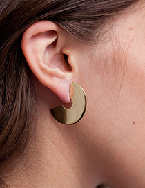 Fashion Gold Color Semicircle Shape Decorated Earrings