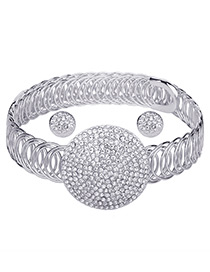 Elegant Silver Color Hollow Out Decorated Jewelry Sets