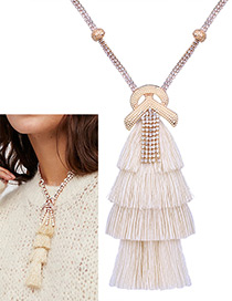 Bohemia White Tassel Decorated Necklace