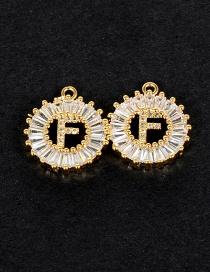 Fashion Gold Color F Letter Shape Decorated Pendant (1pcs)