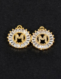 Fashion Gold Color M Letter Shape Decorated Pendant (1pc)