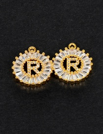Fashion Gold Color R Letter Shape Decorated Pendant (1pcs)