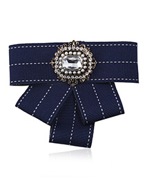 Elegant Navy Square Shape Decorated Bowknot Brooch