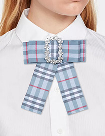 Fashion Blue Square Shape Decorated Bowknot Brooch