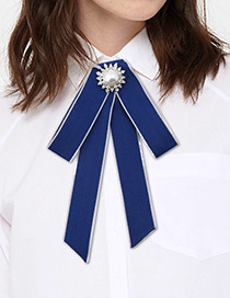 Fashion Navy Round Shape Decorated Bowknot Brooch