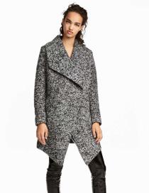 Fashion Gray Pure Color Decorated Coat