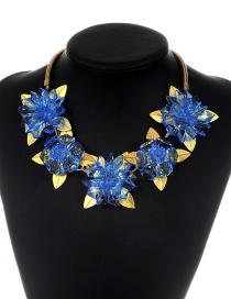 Fashion Blue Flower Shape Decorated Necklace