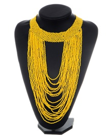 Fashion Yellow Bead Decorated Necklace