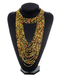 Fashion Yellow+black Bead Decorated Necklace