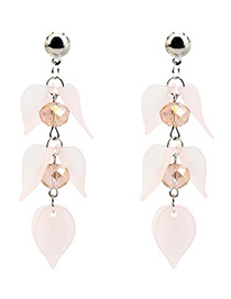 Elegant Light Pink Petal Shape Decorated Earrings