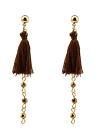 Bohemia Coffee Tassel Decorated Long Earrings