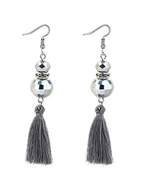 Bohemia Gray Pure Color Decorated Earrings