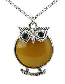 Lovely Yellow Owl Shape Decorated Necklace