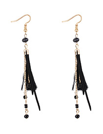 Bohemia Black Tassel Decorated Long Chain Earrings