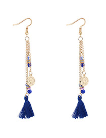 Bohemia Sapphire Blue Coin Shape Decorated Tassel Earrings