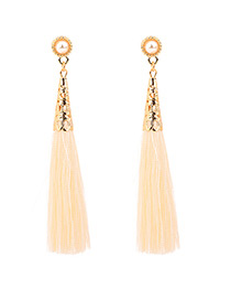 Fashion Beige Pure Color Decorated Tassel Earrings