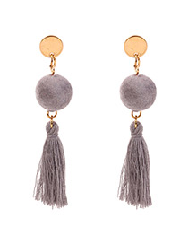 Personalized Gray Fuzzy Ball Decorated Pom Earrings