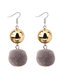 Elegant Gray Fuzzy Ball Decorated Pom Earrings