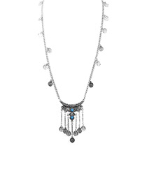 Bohemia Silver Color Coin Shape Decorated Long Necklace