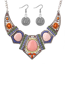 Exaggerated Silver Color Geometric Shape Shape Decorated Jewelry Sets
