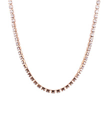Elegant Gold Color Diamond Decorated Necklace