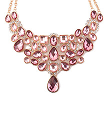 Elegant Pink Pure Color Decorated Necklace