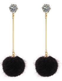 Fashion Black Fuzzy Ball Decorated Long Pom Earrings