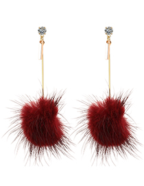 Exaggerated Red Fuzzy Ball Decorated Long Pom Earrings