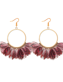 Exaggerated Red Feather Decorated Circular Ring Design Earrings
