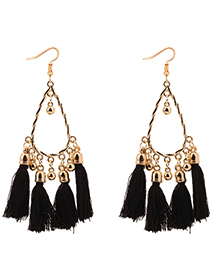 Fashion Black Balls Decorated Tassel Earrings