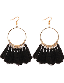 Elegant Black Circualr Ring Decorated Tassel Earrings