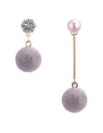 Elegant Gray Round Shape Decorated Asymmetric Earrings