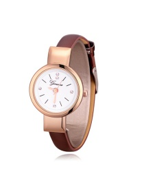 Elegant Coffee Round Shape Dial Design Watch