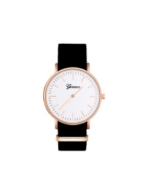 Elegant Black Letter Pattern Decorated Simple Watch