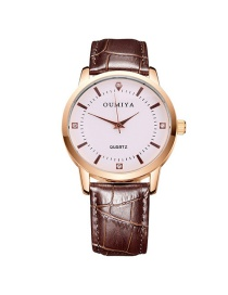 Fashion Brown Round Shape Dial Design Watch