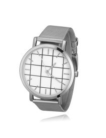 Fashion Silver Color Grid Pattern Decorated Round Dial Watch