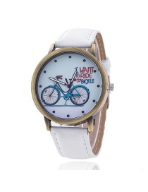 Vintage White Bicycle Pattern Decorated Round Dial Watch