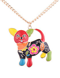Fashion Multi-color Chihuahua Shape Decorated Necklace