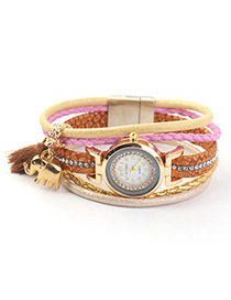 Trendy Brown Elephant&tassel Decorated Multi-layer Watch