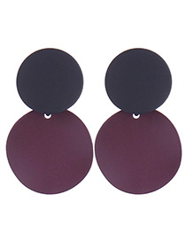 Elegant Black+red Color Matching Decorated Round Shape Earrings