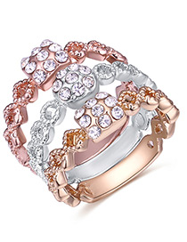 Fashion Multi-color Color Matching Design Ring Sets(3pcs)