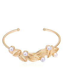 Sweet Gold Color Leaf&pearls Decorated Opening Bracelet