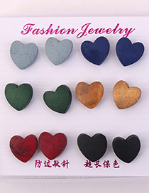Elegant Multi-color Heart Shape Design Color Mathcing Earrings(6pcs)