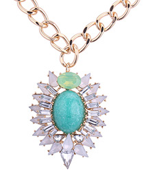 Fashion Champagne+blue Oval Shape Pendant Decorated Necklace